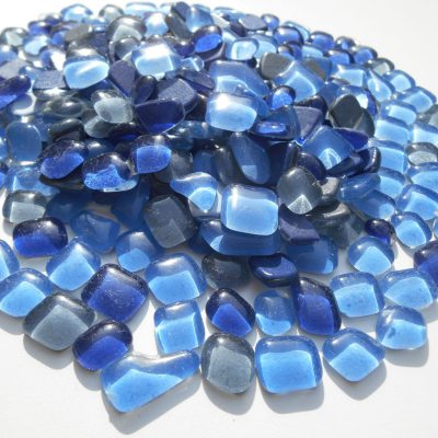 Glassteine Polygonal Blau Grau Mix